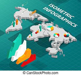 Mapa mundial isométrico con información de negocios