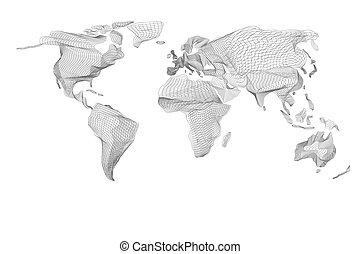Mapa mundial. Un gráfico de computadora vintage abstracto de líneas negras