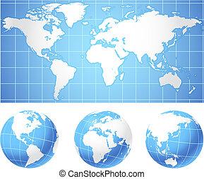 Mapa mundial y globos
