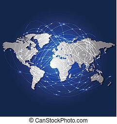 Mapa mundial y red de malla de tecnología, ilustración vectorial