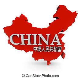 mapa, nombre, china, caracteres, mandarín, traducción, rojo, 3d