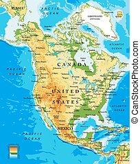 mapa, norte, físico, américa