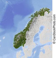 mapa, noruega, protegidode la luz, alivio