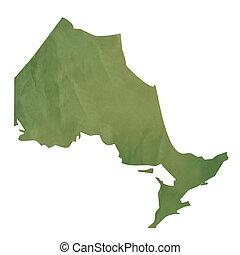 mapa, papel, verde, ontario