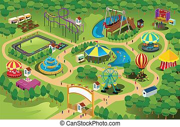 mapa, parque, diversión