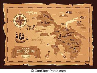 mapa, pirata, estilo, vendimia