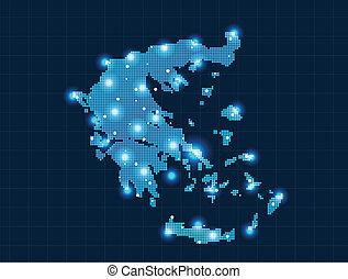 mapa, pixel, grecia