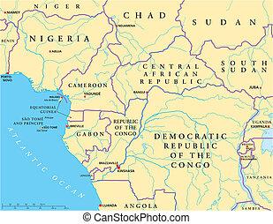 Mapa política de África del Oeste