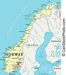 Mapa política de Noruega