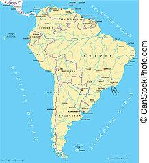 Mapa política de Sudamérica