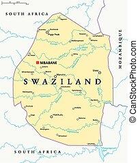 Mapa política de Swaziland