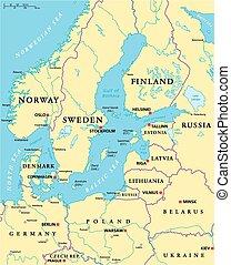 Mapa política del área del mar Báltico
