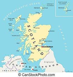 Mapa política independiente de Escocia