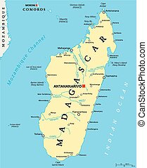 Mapa política Madagascar
