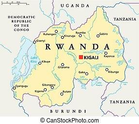 Mapa política Ruanda