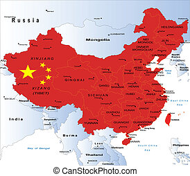 mapa, político, china