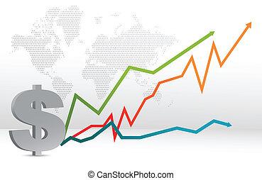 mapa, pronóstico, dólar, gráfico