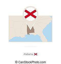 Mapa rectangular del estado de EE.UU. Alabama con icono pin de Alabama