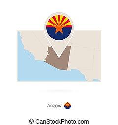 Mapa rectangular del estado de EE.UU. Arizona con ícono pin de Arizona