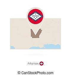 Mapa rectangular del Estado de EE.UU. Arkansas con icono pin de Arkansas