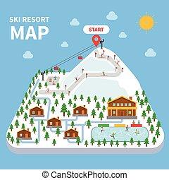 mapa, recurso, esquí