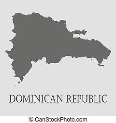 Mapa República Dominicana Negra, ilustración vectorial