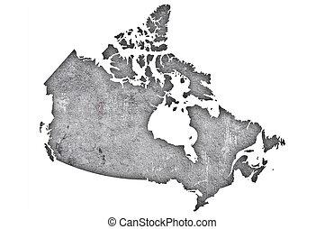 mapa, resistido, concreto, canadá