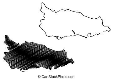 mapa, surrey, bosquejo, garabato, thomas, parroquia, jamaica, ilustración, c/, vector, santo, (parishes, county)