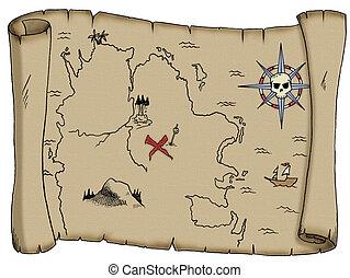 mapa, tesoro, blanco