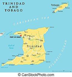 mapa, tobago, político, trinidad