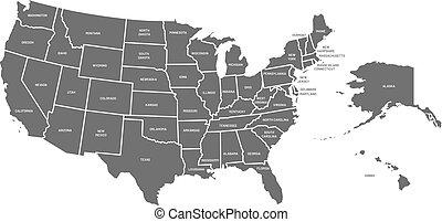 Mapa USA. Un póster de Estados Unidos con nombres de estado. Mapas geográficos americanos incluyendo Alaska y la ilustración de vectores de Hawaii
