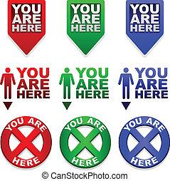 mapa, usted, marcadores, aquí