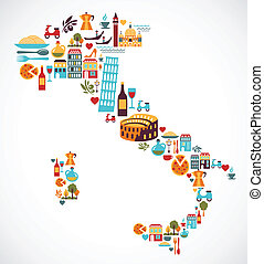 mapa, vector, italia, iconos