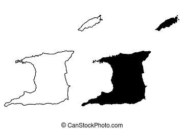mapa, vector, trinidad, tobago