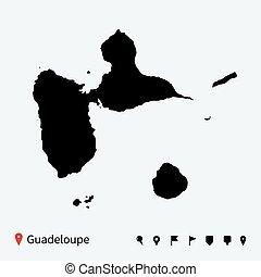 Mapa vectorial de alto detallado de Guadalupe con alfileres de navegación.