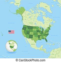 Mapa verde USA de alto detalle