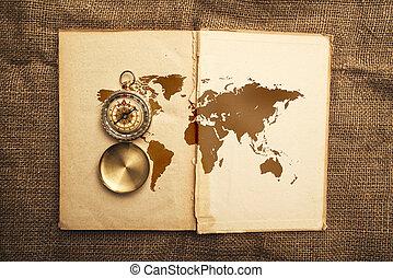 mapa, viejo, libro, compás, mundo, abierto