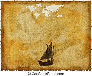 mapa, viejo, papel, retro, mundo, grunge