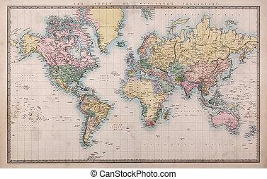 mapa, viejo, proyección, mundo, mercators