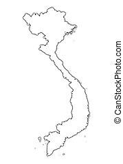 mapa, vietnam, contorno