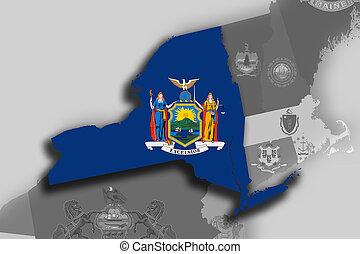 Mapa y bandera de Nueva York