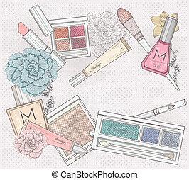 maquillaje, cosméticos, plano de fondo