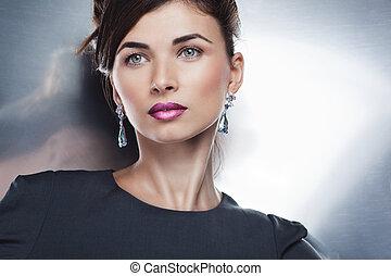 maquillaje, profesional, posar, moda, hermoso, retrato, modelo, jewelry., peinado, encanto, exclusivo