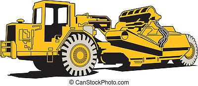 maquinaria pesada, pavimentar, rasqueta
