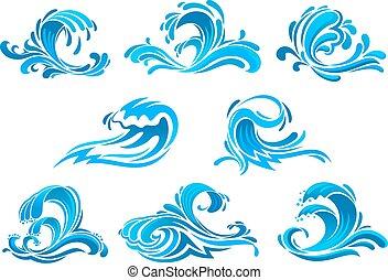 Mar azul y olas o iconos de surf