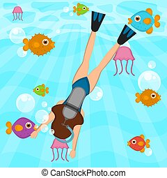 mar, buzo, escafandra autónoma