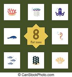 Mar de icono plano de alga, atún, caracol y otros objetos vectoriales. También incluye hipocampo, calamares, elementos de ballena.