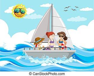 mar, escena, gente, velero