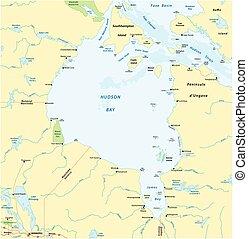 mar, mapa, vector, bahía de hudson, marginal, canadiense