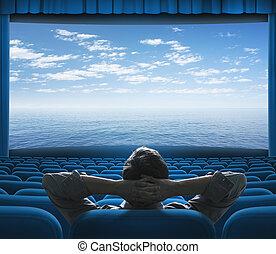 Mar o océano en la pantalla del cine